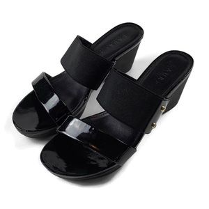 RALPH LAUREN Black Double Strap Wedge Sandals 6.5